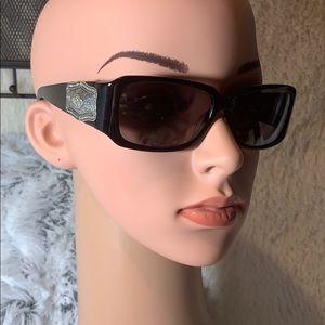 Brighton sunglasses silver brocade black w tin euc